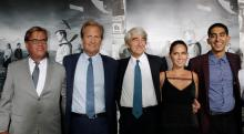 "Sorkin, creator and executive producer, and actors Daniels, Waterston, Munn and Patel arrive for the season 2 premiere of their HBO drama series ""The Newsroom"" in Hollywood"